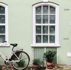 ride a bike to a beautiful mint house | architecture inspiration
