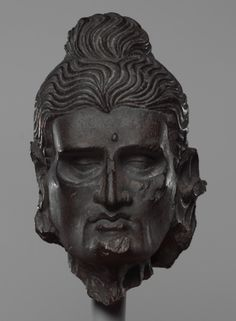 Head of the Fasting Siddhartha. Gandhara (i.e. Pakistan), ca 3rd-5th Century. (via The Metropolitan Museum of Art)