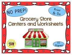 Grocery Store Word Search, Graphing Sheet, Bingo, Book List, Art Project, Writing Activity, Websites, Group Activity, AND 9 thematic worksheets in b/w AND color!!!