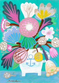 Flowers N.17 - 11x15 inches Print. Flowers in a sailor jar, art print flowers, bohemian, folk, funky, naive, primitive.
