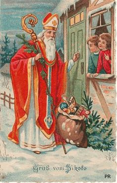 Gallery of free animated gifs of Saint Nicholas (Sinterklaas) and Saint Nicholas character, Sinterklaas character, Noel Christmas, Father Christmas, Vintage Christmas Cards, Christmas Pictures, Vintage Cards, Christmas Mantles, Silver Christmas, Victorian Christmas, Christmas Ornaments
