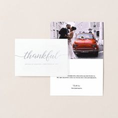 "Elegant Modern Thankful Script photo Metallic Foil Card - An elegant, sophisticated design with the word ""Thankful"" in real silver metallic on the front for your wedding thank you cards. Personalize the text as you'd like. This design allows you to use include a photo from your wedding day. Modern typography with an elegant metallic application. (also available in gold)"