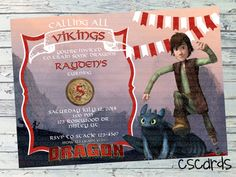 How to Train Your Dragon Birthday Party Invitation! Calling all Vikings! Dragon Training!  Digital Copy Only! Cute Boy How to Train your Dragon Invitation for any birthday party!
