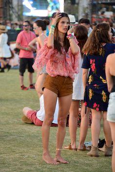 SUEDE SHORTS!!! Alessandra Ambrosio at the Coachella Empire Polo Club