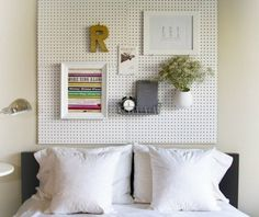 25 DIY Projects for Small Bedrooms - another awesome use of pegboard in the bedroom.