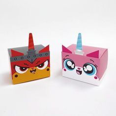 Unikitty and Ultrakatty Treat Box - DIY Printable Lego Head, Arts And Crafts, Paper Crafts, Vbs Crafts, Cardboard Paper, Altered Boxes, Valentine Box, Diy Box, Keepsake Boxes