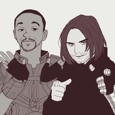 BUCKY DOING FINGER GUNS AT SOMEONE IS MY LIFE << Ok yes, that's freaking epic, but SAM'S FACE THOUGH xD #BuckyBarns #SamWilson