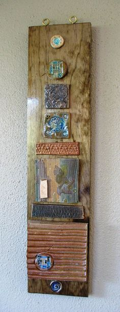 "Passion & Dreams. Ceramic and Wood, Wall Hanging Totem. 5 1/2"" x 2'. Walnut Finish.. $65.00, via Etsy. Cool Color!"