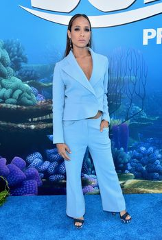 Dania Ramirez Pantsuit - Dania Ramirez rocked a baggy blue pantsuit at the world premiere of 'Finding Dory. Dania Ramirez, Devious Maids, Finding Dory, Red Carpet Event, Red Carpet Fashion, Baby Room, Jumpsuit, Stylish, Celebrities