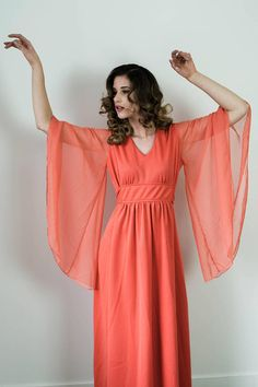 Vintage 70s Coral Chiffon Bell Sleeves Cocktail Party Dress