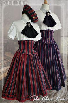 Excentrique striped burgundy and pruple high waist skirt, jabot and beret. Steampunk lolita.