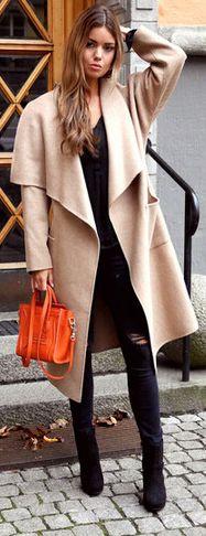 Khaki Long Sleeve Lapel Pockets Long Coat