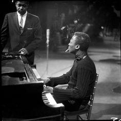 Miles Davis on piano with Wynton Kelly