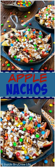 Apple Nachos - drizzles of peanut butter, caramel, and plenty of candy makes these sliced apples a fun after school snack. This is also a fun no bake recipe for kids to make at parties!!