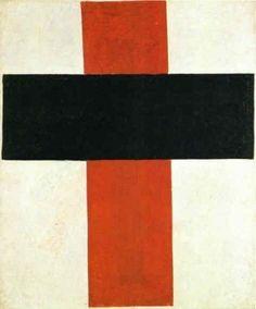 """peinture abstraite russe : Kasimir Malévitch, 1927, """"Croix rouge et noire"""", géométrique, 1920s"""
