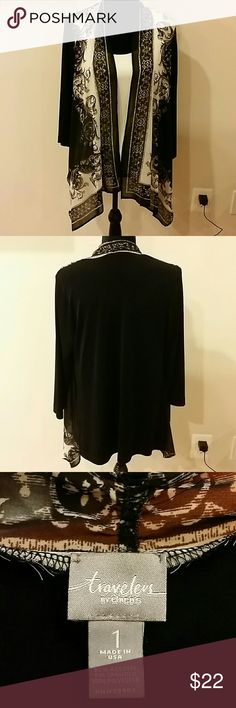 Chico's size 1 traveler's  cardigan Gorgeous open front cardigan, beautiful handkerchief front panels, drapes well, slimming, excellent condition, easy care, No trades ?? Discount with bundles. chicos  Sweaters Cardigans