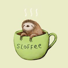A damned adorable sloth and coffee
