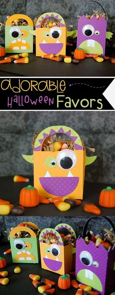 These Monster party favors will add a little fun to your Halloween! Every kids will love it very much and also have great fun making it by their little hands! Halloween Taschen, Dulceros Halloween, Bonbon Halloween, Halloween Goodie Bags, Halloween Paper Crafts, Halloween Party Favors, Halloween Birthday, Holidays Halloween, Halloween Ideas