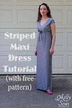 Striped Maxi Dress FREE Sewing Pattern