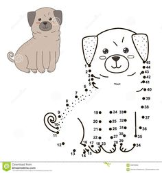 Illustration about Connect the dots to draw the cute dog and color it. Educational numbers and coloring game for children. Illustration of amusement, number, happy - 69633986 Dog Vector, Vector Free, Kids Printable Coloring Pages, Connect The Dots, Little People, Cute Dogs, Connection, Drawings, Illustration