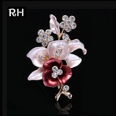 Elegant women Drip Crystal Flower brooches pins Gold plated romantic brooches for women wedding party hijab pins bridal pins