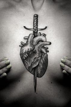 Pointillism Tattoo Art by Kamil Czapiga Badass Tattoos, Body Art Tattoos, Sleeve Tattoos, Torso Tattoos, Knife Tattoo, Sword Tattoo, Irezumi, Design Tattoo, Tattoo Designs