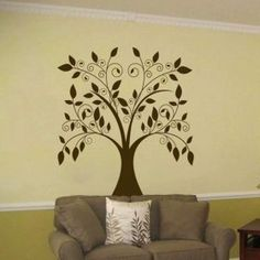 Large Swirling Tree With Falling Leaves Vinyl Wall Decal