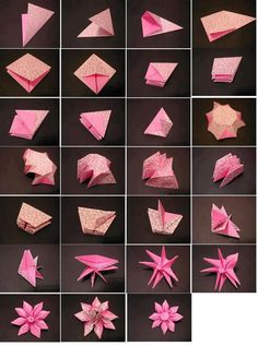 Origami Carambola Flowers by Carmen Sprung Aren't they just beautiful? Find out how to fold these origami flowers from a single sheet of paper, no glue needed! Origami Carambola Flowers -link to video tutorial by Carmen Sprung, long but includes how to fo Origami Tutorial, Instruções Origami, Origami Tattoo, Origami Ball, Origami And Kirigami, Origami Butterfly, Paper Crafts Origami, Origami Design, Origami Instructions