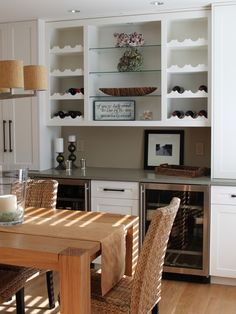 Kitchen Remodel - contemporary - dining room - boston - Molly Frey Design - Bar Area in Breakfast Nook Dining Room Storage, Dining Room Wall Art, Dining Room Buffet, Dining Room Design, Dining Rooms, Dining Area, Dining Table, Built In Buffet, Built In Bar