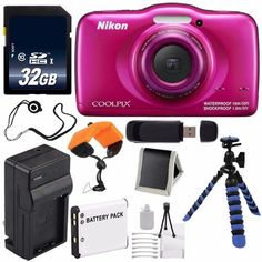 Nikon COOLPIX S33 Digital Camera (Pink) International Model No Warranty   Replacement Battery   External Charger   32GB Card   Floating Strap   12-Inch Flexible Tripod   USB Reader   Memory Card Wallet   Cap Keeper *** Want additional info? Click on the image.