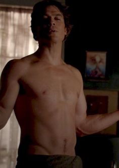 "Oh Damon! (Joseph Morgan jokes,  ""The trouble they have getting Ian to wear clothes on set!"")"