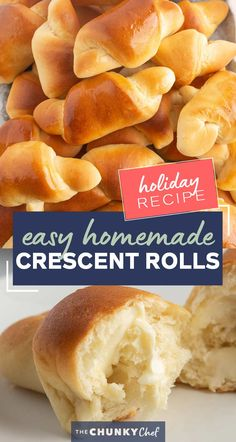 Buttery, soft and flaky, these Homemade Crescent Rolls are easier to make than you think! Perfect rolls for Thanksgiving or a family dinner! #crescentrolls #crescents #dinnerrolls #rolls #thanksgiving #bread #homemaderecipe #yeast Thanksgiving Recipes, Holiday Recipes, Thanksgiving Feast, Fall Recipes, Pastry Recipes, Bread Recipes, Best Appetizers, Appetizer Recipes, Best Homemade Bread Recipe