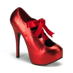 Teeze 09 Red Matt Ribbon Lace Up Oxford Style Court Shoes with 5 3/4 Inch Heel and Concealed Platform
