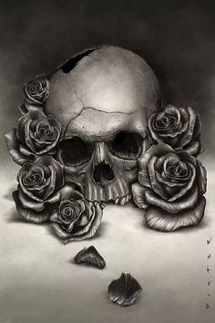 sketch # draw more tattoo ideas art tattoo skulls and roses rose skull Tatto Skull, Tatoo Art, Skull Art, Totenkopf Tattoos, Rosen Tattoos, Skull Pictures, Desenho Tattoo, Skulls And Roses, Rose Art