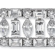 Aurora Cubic Zirconia Art Deco Bracelet, 28.18 Ct TW... Available in 14K white gold or 14K yellow gold. Model: 5600BM28