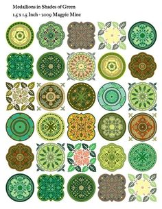 Medallions Shades of Green Collage Sheet  1.5 Inch by MagpieMine, $4.00