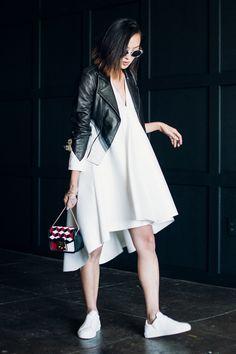 Dress: Marked Jacket: The Mighty Company Bag: Furla Shoes: Axel Arigato Sunnies: Mykita