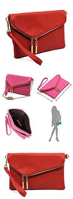 Mj Handbags. Elphis Evening Bag Envelope Fold Over Clutch Wristlet Purse Chain Cross Body Bag (MJ Red).  #mj #handbags #mjhandbags