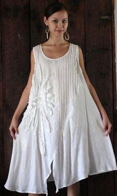 Peacock Ways Y021 Artisan Lagenlook Flower Tunic Dress XL White Cream   eBay