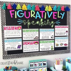 Decorate the board outside classroom this way, but include student work as well. Week 3 or 4 of school year. Figurative Language is one of my favorite things to teach! I just love how this board turned out. These posters are part of my Figurative… 4th Grade Ela, 6th Grade Reading, 5th Grade Classroom, Classroom Design, Classroom Ideas, Third Grade, English Classroom Decor, English Classroom Posters, Speech Classroom Decor