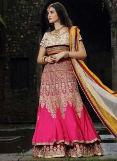 Mustard Magenta Embroidery Work Net Georgette Designer Wedding Lehenga Choli http://www.angelnx.com/Lehenga-Choli/Wedding-Lehenga-Choli