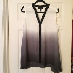 NWOT Beautiful flowing Alfani top! White to gray to a smokey black, button up top.  Beautiful v-neckline!  Sheer will need a under garment. Alfani Tops Blouses