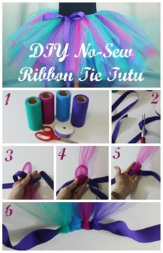 Howake a no sew tutu. Create a custom sized tutu with this easy no-sew ribbon tie tutu tutorial. This peacock inspired tutu is perfect for Halloween! Updated No-Sew Tutu, Toddlers and Infants Size Chart and Ideas- tulle, lace, fabric DIY No Sew Ribbon Tie Fun Crafts, Crafts For Kids, Arts And Crafts, Kids Diy, Tulle Crafts, Diy Gifts For Kids, Creative Crafts, Tutu Diy, No Sew Tutu
