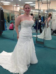 its a corset back drop waist lace dress! I love it! its about 750 dollars at davids bridal