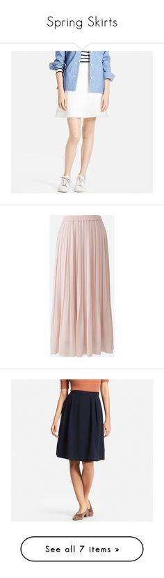 """Spring Skirts"" by uniqlo ❤ liked on Polyvore featuring skirts, mini skirts, off white, high waisted mini skirt, flared mini skirt, high-waist skirt, high waisted skirts, short mini skirts, pink and high waisted long skirts"
