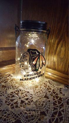 Items similar to Mason Jar Solar Lid Light - Chicago Blackhawks Decorated solar mason jar, mason jar light, fairy light, mason jar solar light on Etsy Mason Jar Solar Lights, Solar Fairy Lights, Mason Jar Lighting, Mason Jar Lamp, Quart Jar, Chicago Blackhawks, Gown, Creative, Wedding