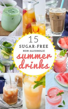 The ULTIMATE collection of Non-Alcoholic Refreshing Summer Drinks recipes - - lemonades, iced lattes, infused waters, fruity iced tea and more.These drinks are all natural, REFINED SUGAR-FREE, packed with amazing flavors and above all super easy to whip up. #drinks #summerdrinks #nonalcohol #sugarfree #healthy #healthyrecipes #kidfriendlyrecipes #infusedwater #lemonade #watermelon #latte #coffee NATALIESHEALTH.com Fun Drinks, Refreshing Summer Drinks, Yummy Drinks, Healthy Alcoholic Drinks, Healthy Desserts, Beverages, Healthy Recipes, Diabetic Recipes, Healthy Meals