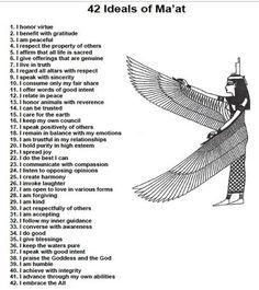 The 42 Laws Of The Goddess Maat Kemetic Spirituality Egyptian Goddess Maat