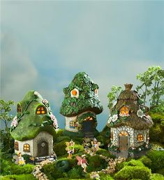 These Miniature Fairy Garden Round Solar Fairy Cottages are delightful in every sense of the word! Covered in different floral accents, these charmi… Mini Fairy Garden, Fairy Garden Houses, Fairies Garden, Fairy Furniture, Outdoor Furniture, Cottage Lighting, Fairy Village, Fairy Garden Supplies, Fairy Garden Accessories