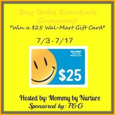 #Win a $25 #Walmart Gift Card in the Buy Baby Essentials #Giveaway! Ends 7/17.